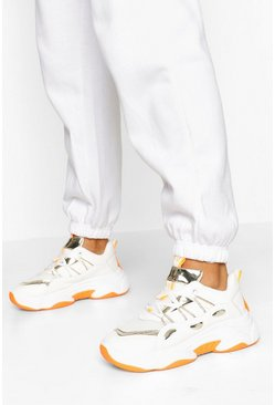 White Contrast Sole Chunky Trainers
