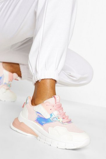 Pink Chunky Multi Panel Trainers