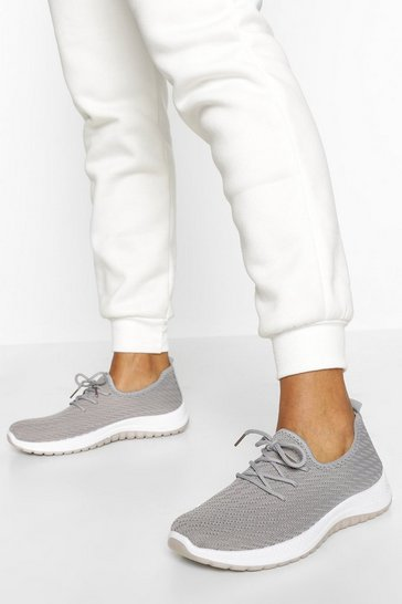 Grey Basic Knitted Running Trainer
