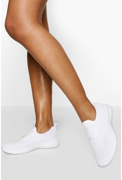 White Basic Knitted Running Trainer