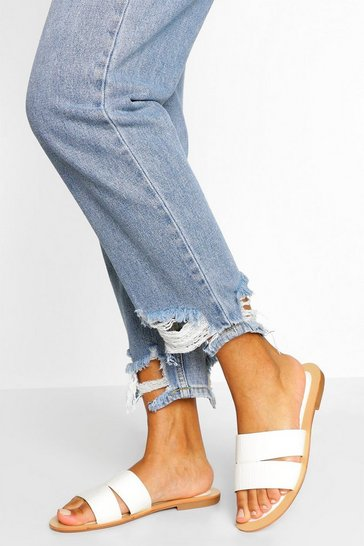 White Croc Cutwork Sliders