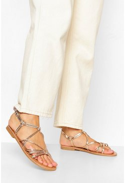 Rose gold Strappy Knot Front Flat Sandal