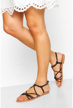 Black Strappy Knot Front Flat Sandal