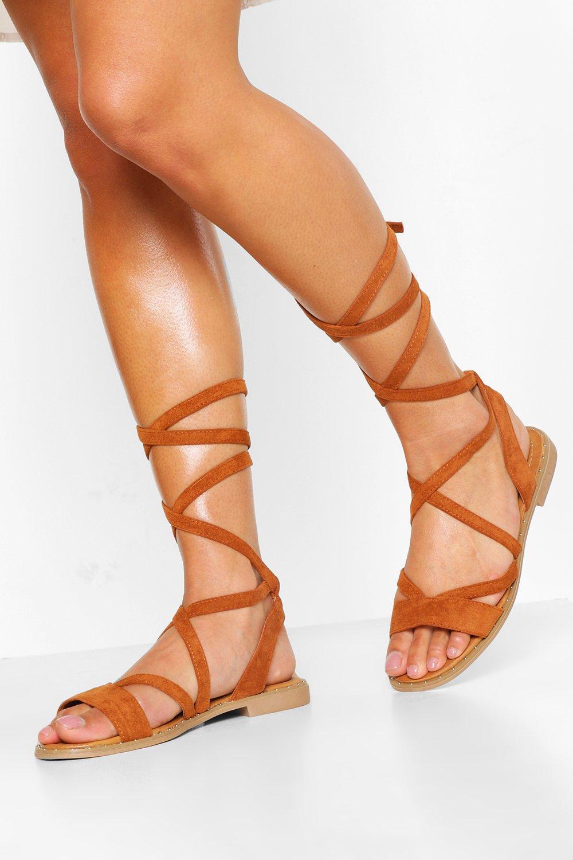 60s Shoes, Boots Womens Wrap Strap Flat Sandal - Brown - 10 $17.00 AT vintagedancer.com