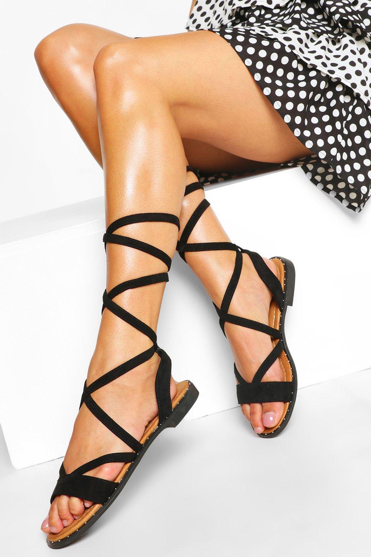 Vintage Sandals | Wedges, Espadrilles – 30s, 40s, 50s, 60s, 70s Womens Wrap Strap Flat Sandal - Black - 10 $12.80 AT vintagedancer.com