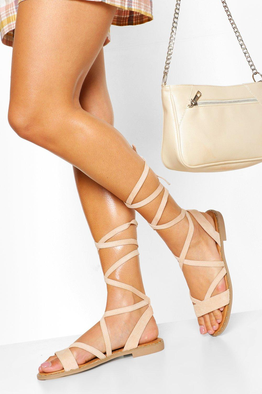 Vintage Sandals | Wedges, Espadrilles – 30s, 40s, 50s, 60s, 70s Womens Wrap Strap Flat Sandal - Beige - 10 $12.80 AT vintagedancer.com