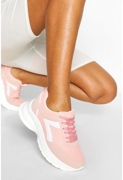 Nude Chunky Lace Up Sports Trainer