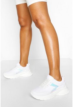 White Chunky Lace Up Sports Trainer