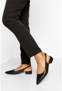 Black Sling Back Pointed Ballet Pumps