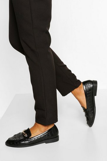 Black T Bar Fringe Loafers