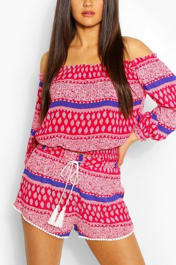 Pink Long Sleeve Bardot Top & Short Co-Ord Set