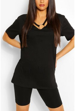 Ring Detail Cut Out Shape T-Shirt, Black