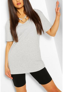 Grey marl Ring Detail Cut Out Shape T-Shirt