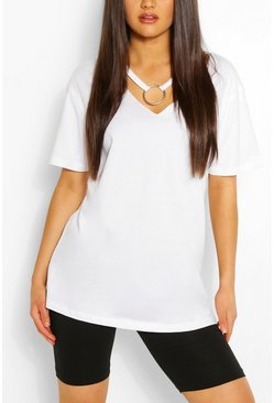 Ring Detail Cut Out Shape T-Shirt, White