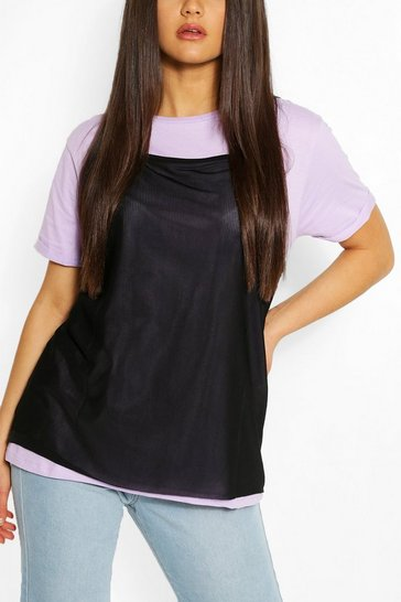 Lilac 2in1 Contrast Turn up Sleeve T-shirt