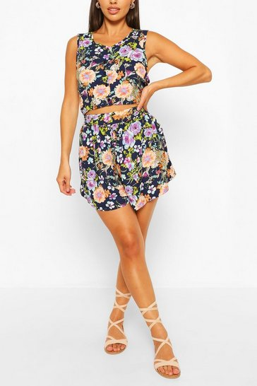 Blue All Over Print High Waist Short& Crop Co-Ord