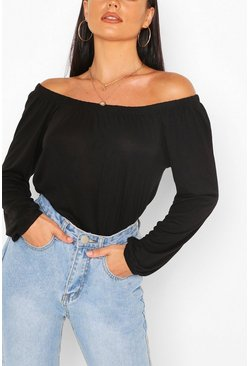 Basic Jersey Long Sleeve Bardot Top, Black