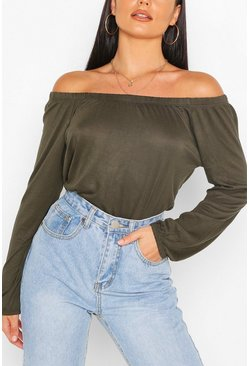 Basic Jersey Long Sleeve Bardot Top, Khaki