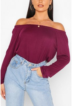 Basic Jersey Long Sleeve Bardot Top, Plum