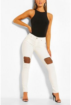White Fishnet Detail Ribbed Leg Skinny Jeans