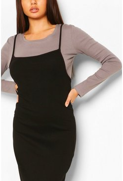2in1 Long Sleeve Midaxi Rib Dress, Black