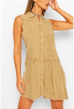 Stone Denim Wash Button Through Sleeveless Dress