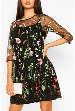 Floral Embroidery Mesh Overlay Dress, Black
