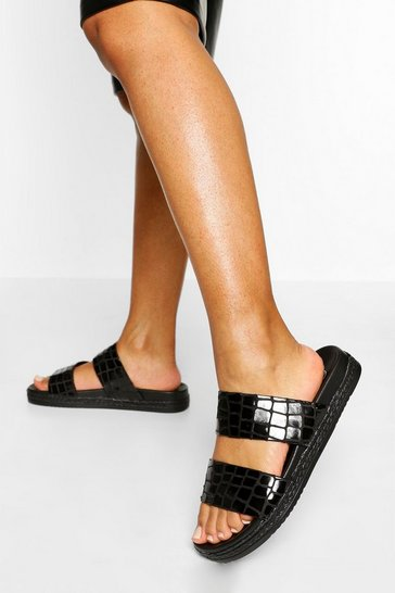 Black Croc Double Strap Footbed Sliders