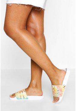 Nude Tie Dye Pool Sliders