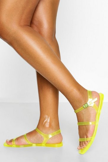 Yellow Stripe Strap Jelly Sandal