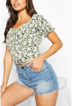 Black Woven button through floral crop top