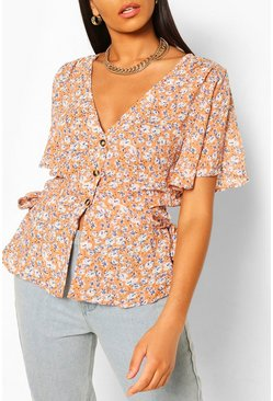 Pink Woven floral button through blouse