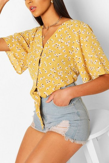 Yellow Woven tie front angel sleeve blouse