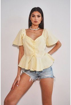Woven button through peplum, Lemon