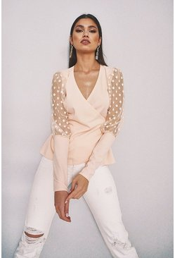 Blush Dobby Mesh Wrap Top
