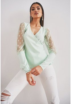 Mint Dobby Mesh Wrap Top