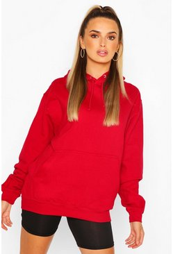 Red BASIC OVERSIZED POCKET DETAIL HOODY