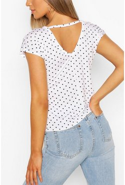 White Spot Print V Neck Key Hole Detail T-Shirt