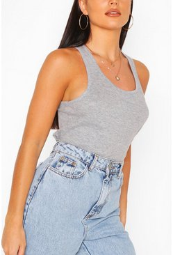Basic Racer Vest Tops, Grey
