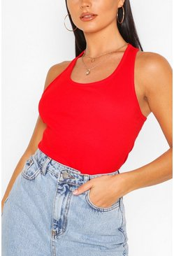 Basic Racer Vest Tops, Red