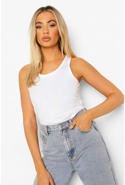 Basic Racer Vest Tops, White