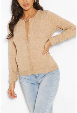 Camel Soft Knit Crew Neck Cardigan