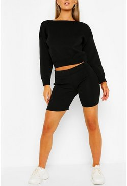 Black Jumper And Cycling Shorts Knitted Lounge Set