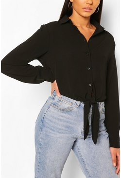 Black Long Sleeve Tie Front Shirt