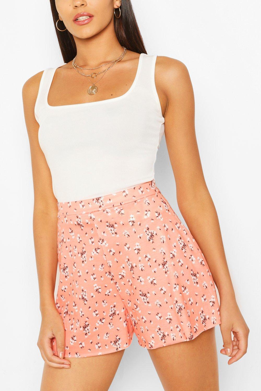 1930s Wide Leg Pants and Beach Pajamas Womens Ditsy Floral Print High Waist Flippy Shorts - Orange - 12 $8.00 AT vintagedancer.com