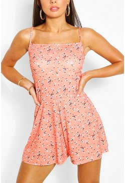 Ditsy Floral Print Strappy Swing Playsuit, Coral