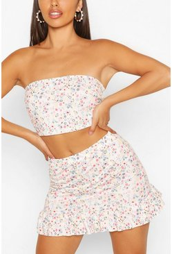Pink Ditsy Print Bandeau And Frill Hem Skirt Co-ord Set