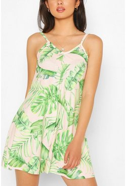 Blush Palm Print Strappy Swing Playsuit