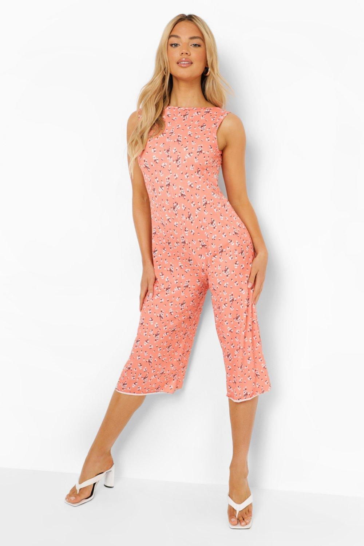 1930s Wide Leg Pants and Beach Pajamas Womens Floral Print Scoop Back Culotte Jumpsuit - Orange - 12 $12.00 AT vintagedancer.com