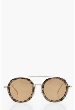 Tortoiseshell Framed Round Sunglasses, Brown
